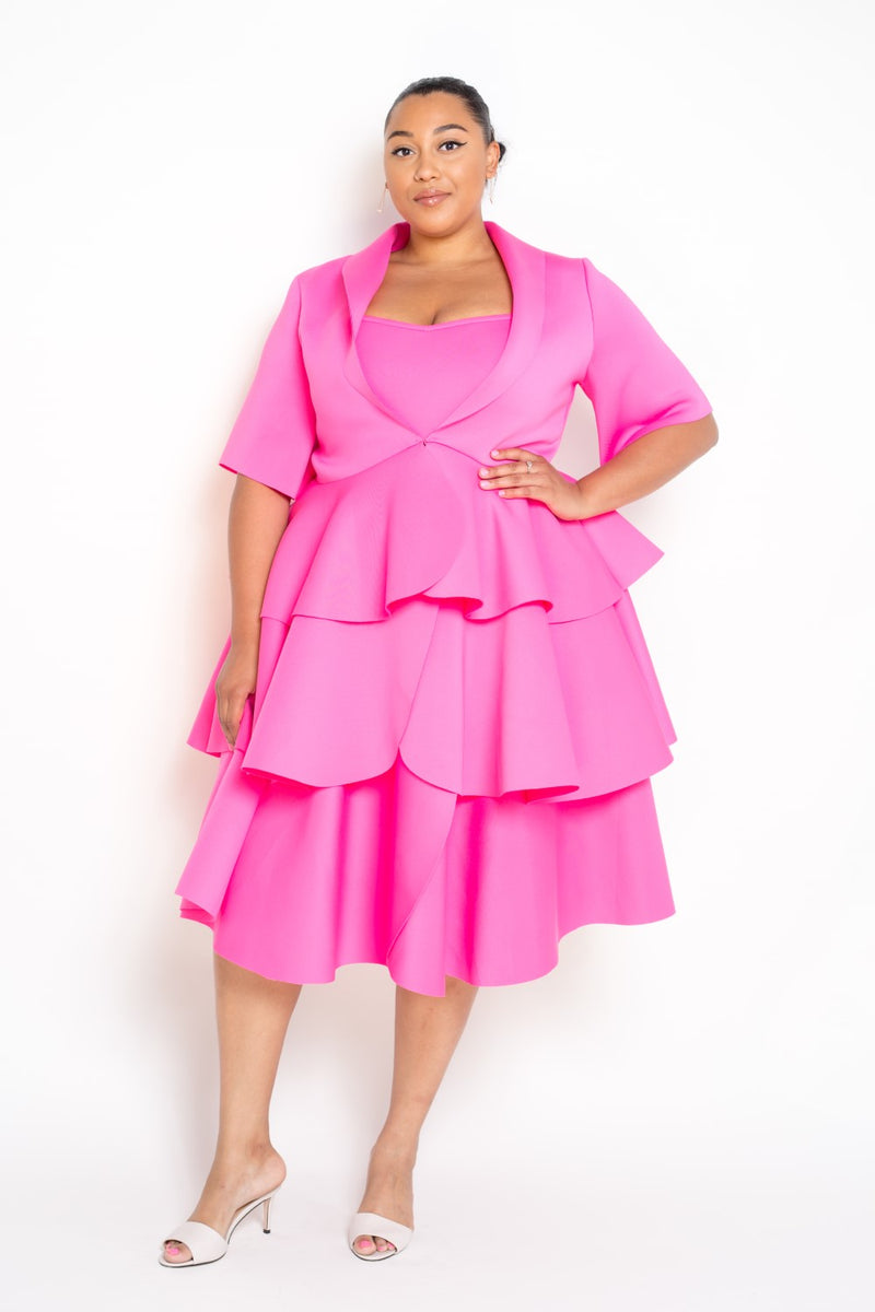 buxom curvy couture dress and jacket set scuba neoprene tiered dress in pink
