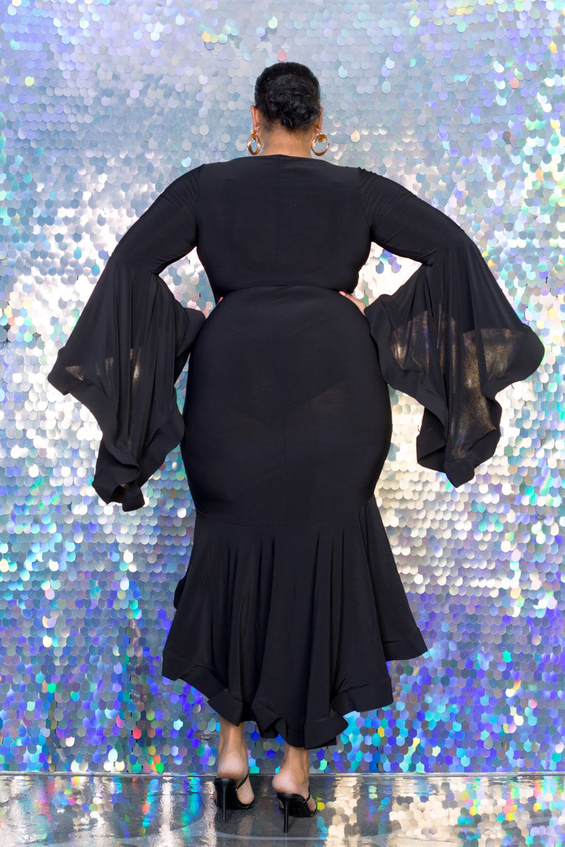 buxom curvy couture womens plus size black ity flounce angel sleeve dress