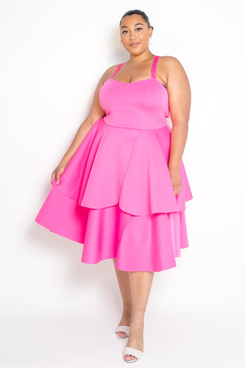 buxom curvy couture dress and jacket set scuba neoprene tiered dress in fuchsia