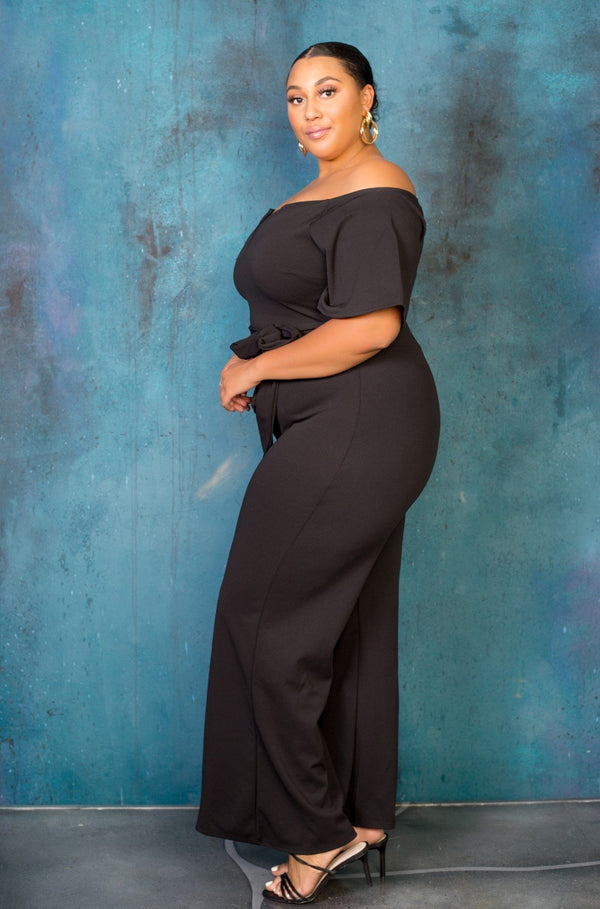 buxom curvy couture womens plus size off shoulder jumpsuit in black