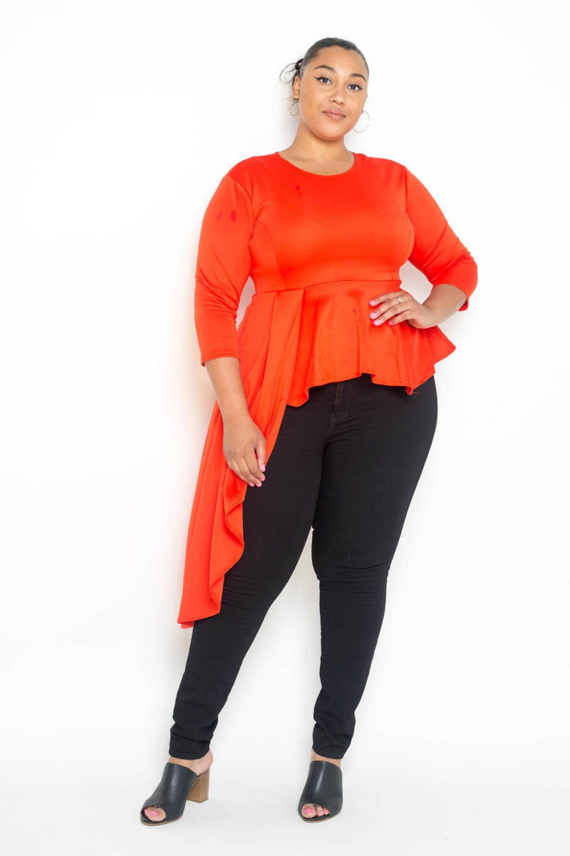 plus size asymmetrical peplum top in red