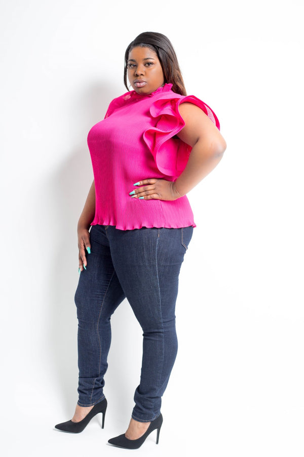 pleated ruffled shoulder plus size top fuchsia