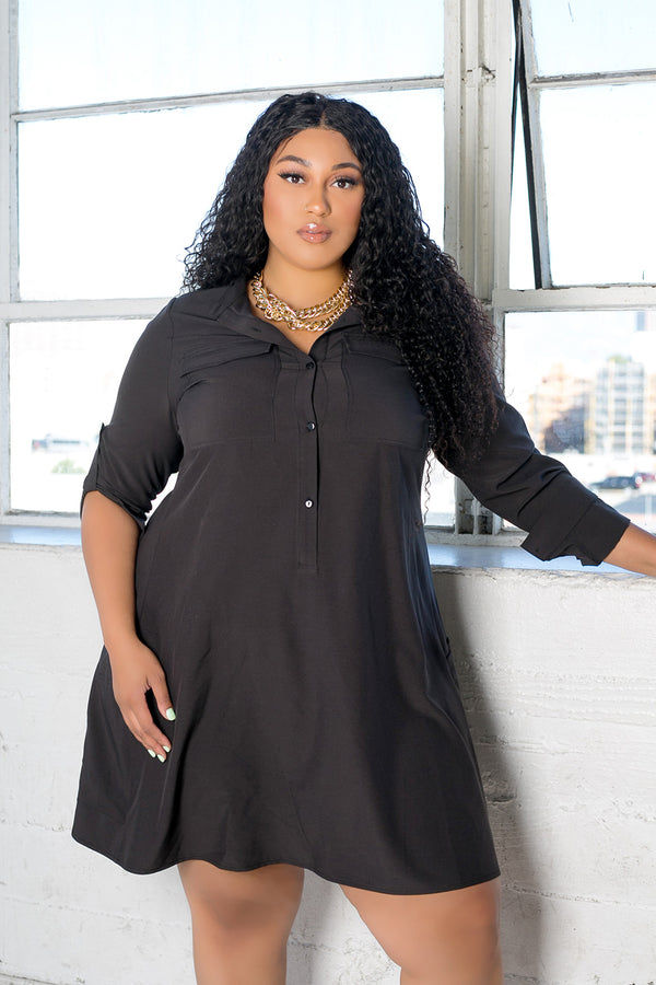 buxom curvy couture womens plus size utility shirt in black