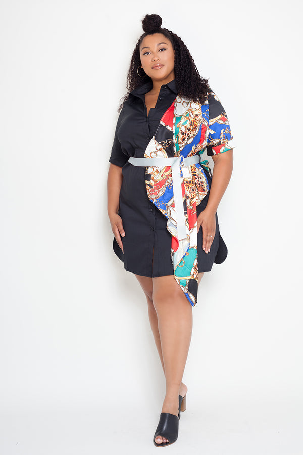 buxom curvy couture plus size shirt dress woven drama print with belt chain in black
