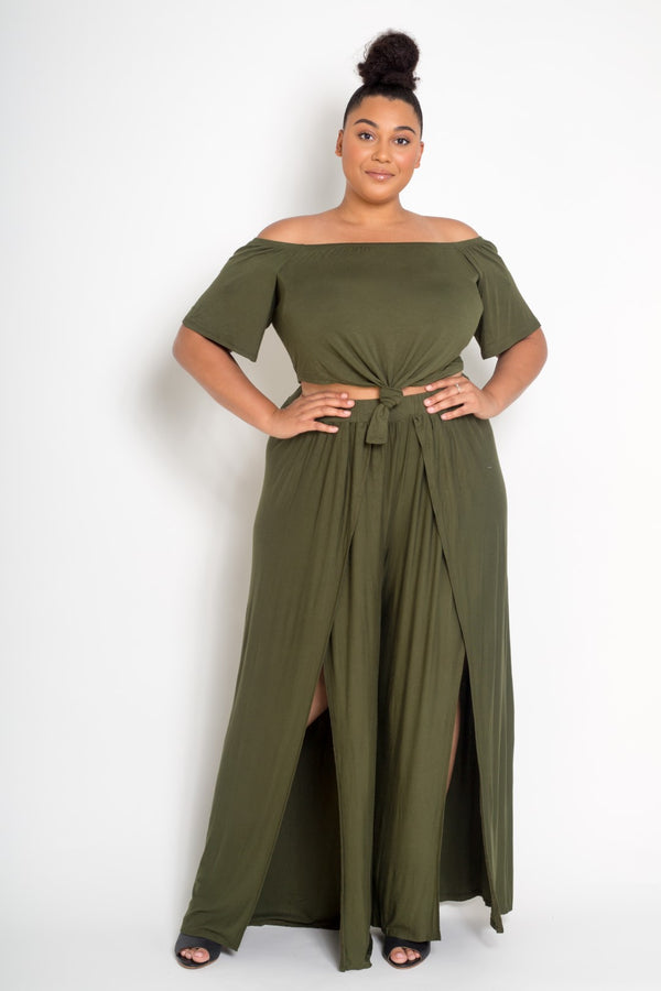 plus size crop top and pants set olive