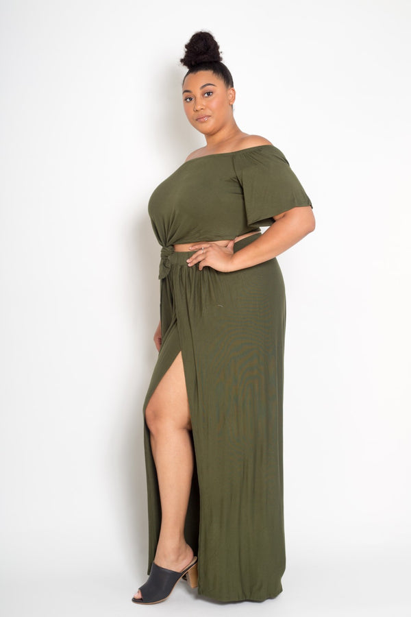 buxom curvy couture womens plus size crop top and pants set in olive