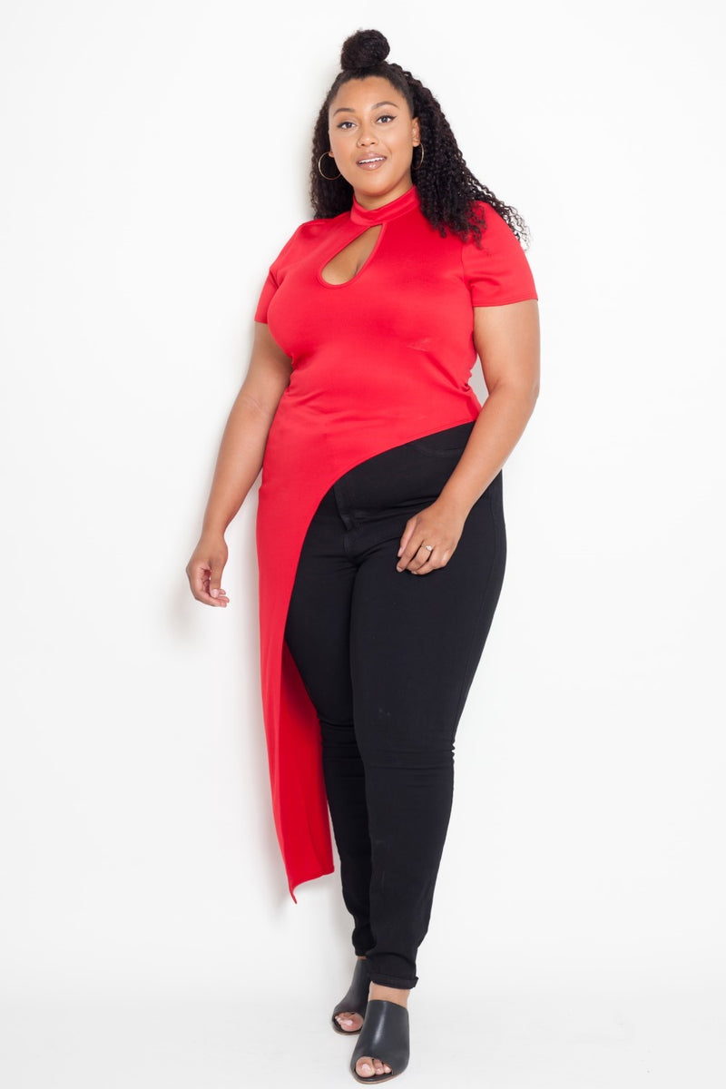 plus size mandarin neck keyhole top red