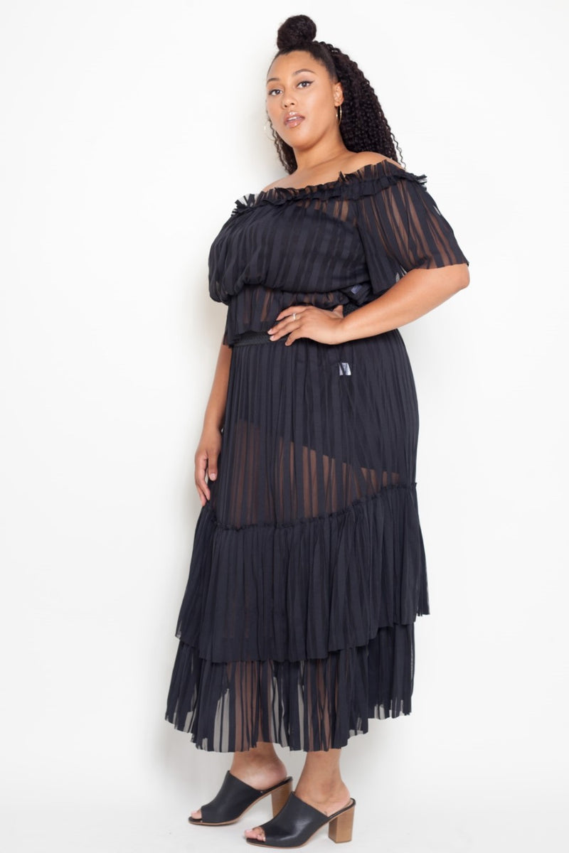 buxom curvy couture plus size contemporary plus size sheer crop top and skirt set in black