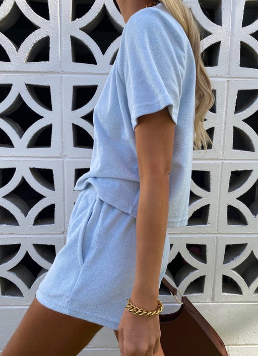 Terry Pale Blue Short Set