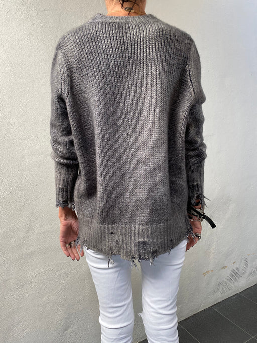 Cashmere Wool Distressed Cardigan