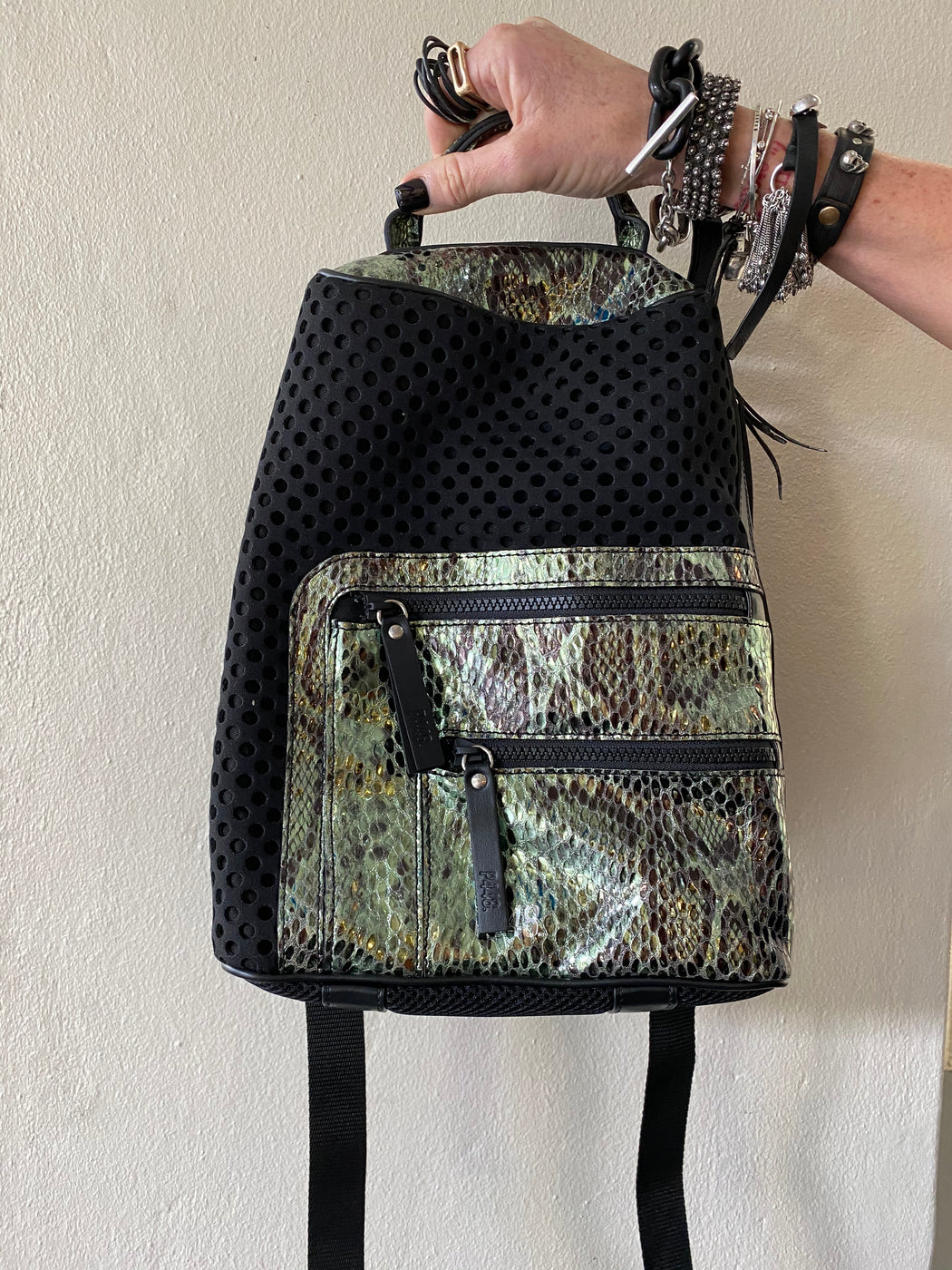 Bill  Black Metallic Backpack