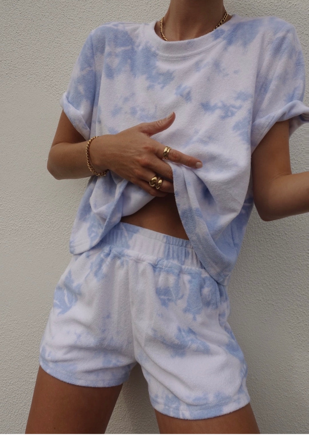 Terry Blue Tye Dye Short Set