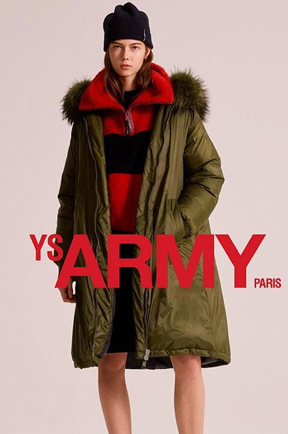 YS Army Long Hooded Bomber Jacket