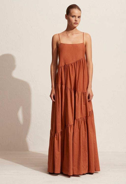 Asymetric Tiered Sundress Toffee