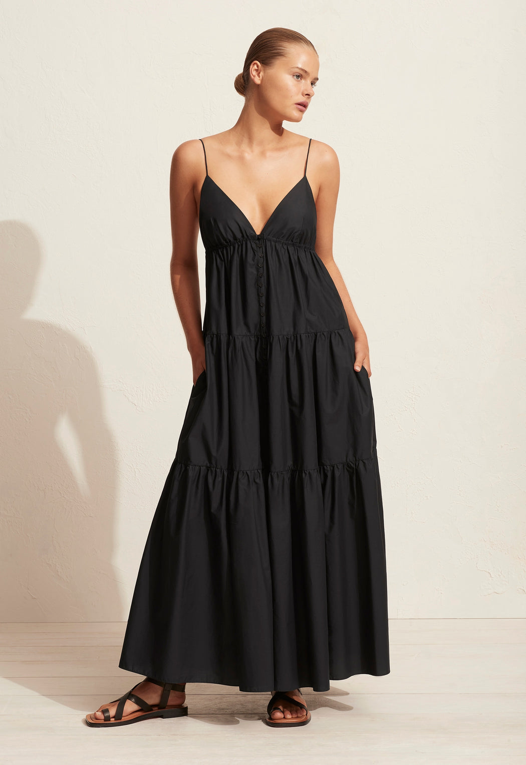 Triangle Tiered Sundress Black