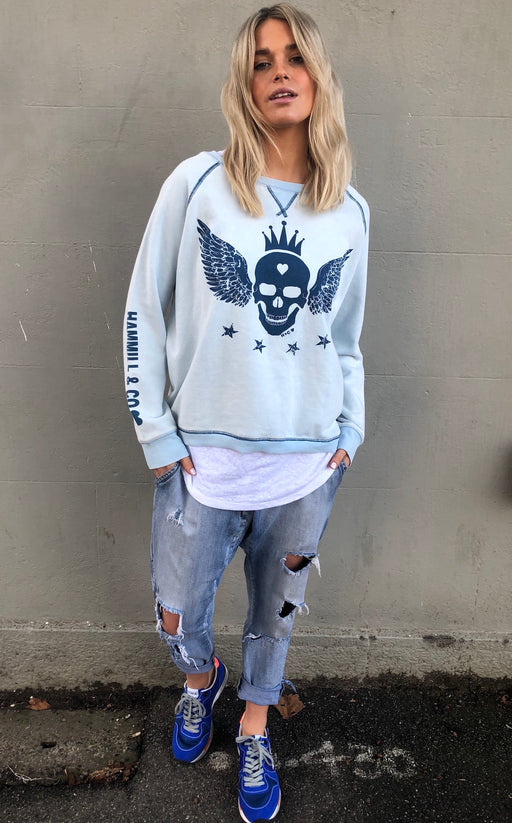 Skull Sweat Washed Blue