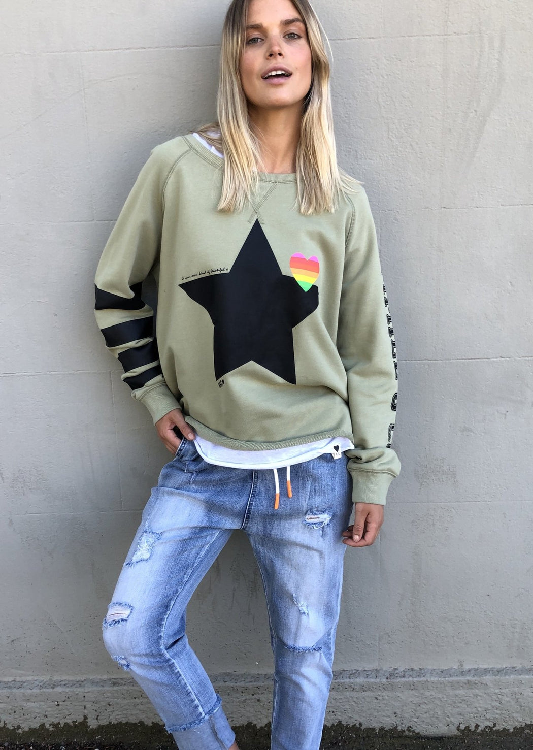 Retro Star Sweat Khaki