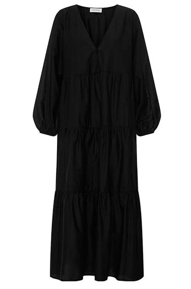 Long Sleeve Tiered Dress Black