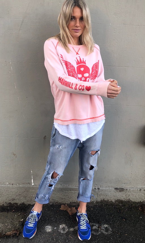 Skull Sweat Washed Pink