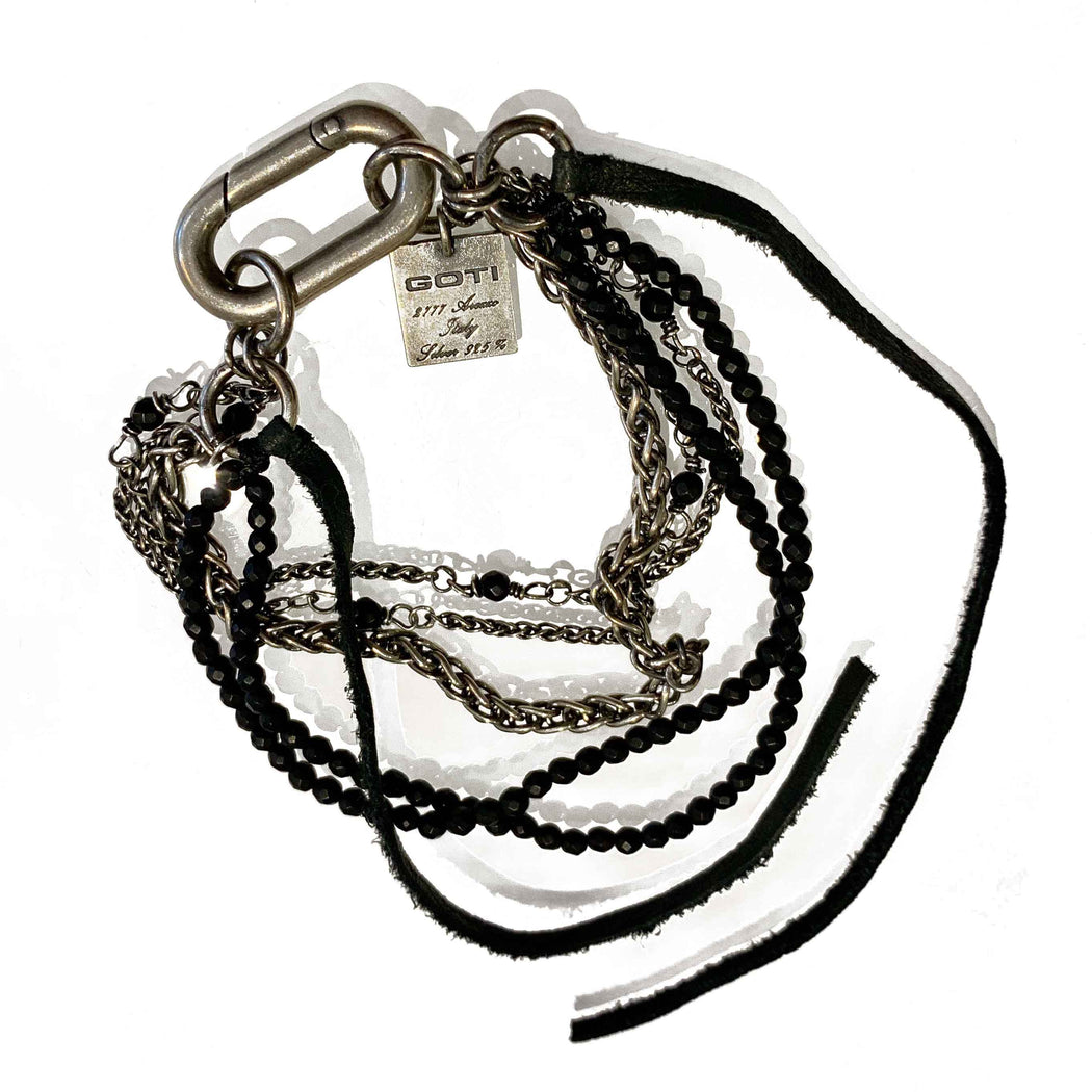 Silver chain black bead & leather bracelet