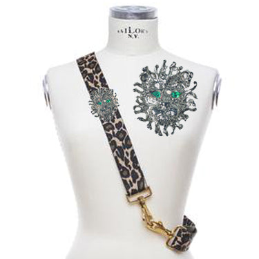 Bag Strap Ocelot - Silver Lion Green Eye