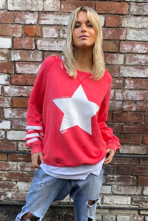 Star Sweat Washed Red