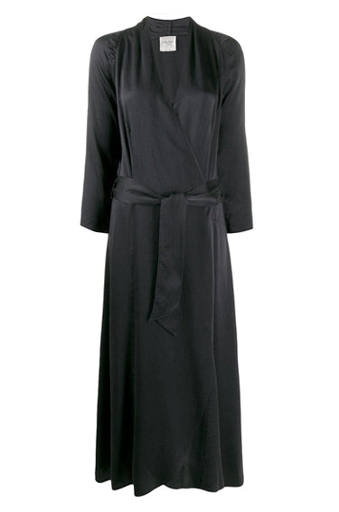 Wrap Dress in Cloqué Silk Notte