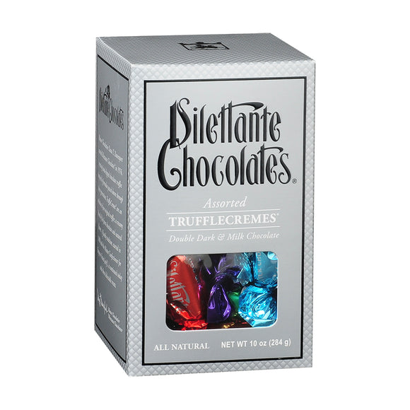 TruffleCremes Assorted Gift Box. Dark and Milk chocolate. All natural. Brand: Dilettante, USA.