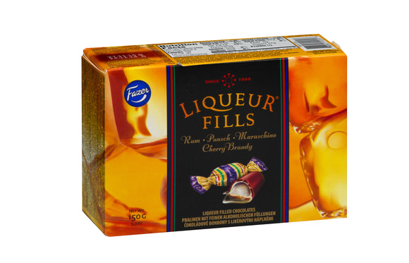 Chocolate Liqueur Fills Assortment Box. Premium Swiss dark chocolate with liqueurs. Brand: Fazer, Finland.