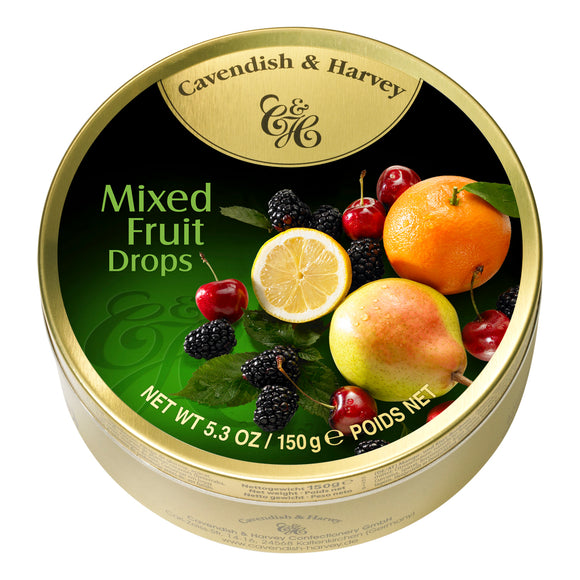 Mixed Fruit Drops Tin. Kosher. Gluten Free. Preservatives Free. Brand: Cavendish & Harvey, Germany.