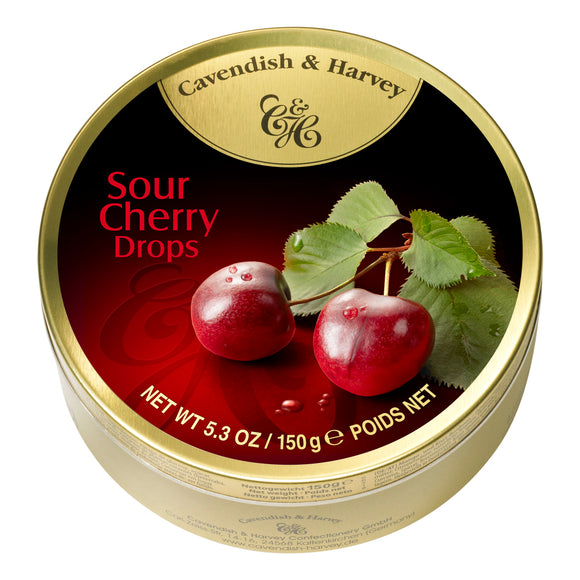 Sour Cherry Drops Tin. Kosher. Gluten Free. Preservatives Free. Brand: Cavendish & Harvey, Germany.