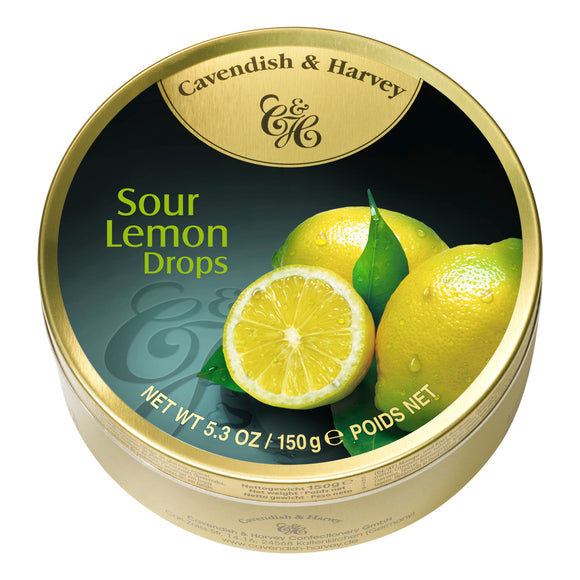Sour Lemon Drops Tin. Kosher. Gluten Free. Preservatives Free. Brand: Cavendish & Harvey, Germany.