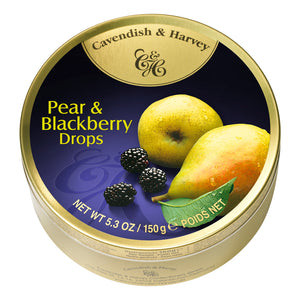 Pear & Blackberry Drops Tin. Kosher. Gluten Free. Preservatives Free. Brand: Cavendish & Harvey, Germany.