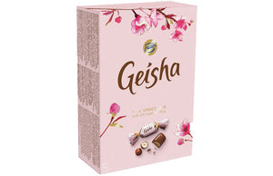 Geisha Milk Chocolate with Hazelnut Filling Box. Brand: Fazer, Finland.