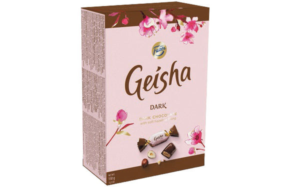 Geisha Dark Chocolate with Hazelnut Filling Box. Brand: Fazer, Finland.
