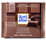 Milk Chocolate with Cocoa Mousse Bar. Made with Alpine milk chocolate 30%. Brand: Ritter, Germany.