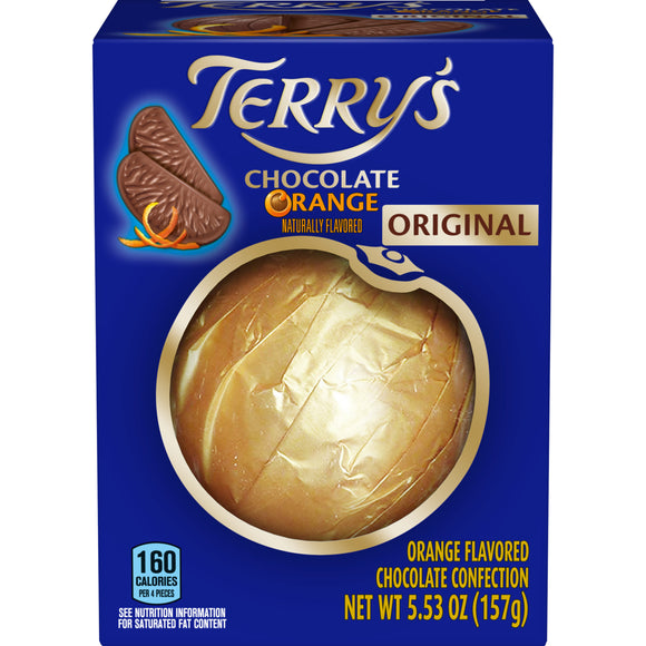 Milk Chocolate Orange. Orange-shaped ball of 20 pieces, milk Chocolate with orange oil. Brand: Terry's, England.