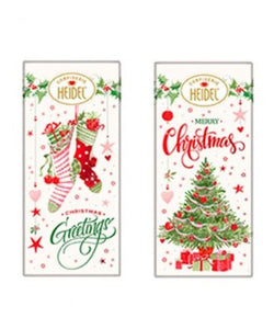 Milk Chocolate Christmas Bars 2 Piece Assortment. Christmas theme packaging in 2 variations. Brand: Heidel, Germany.