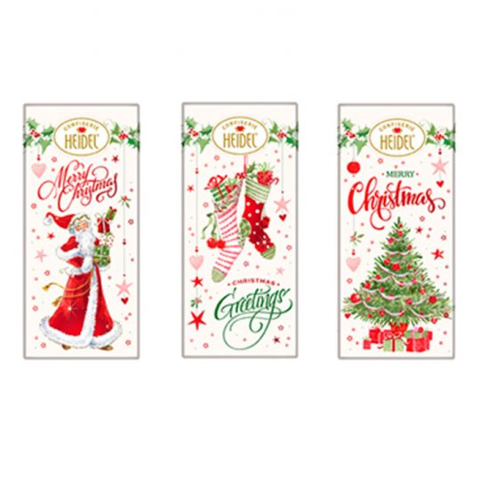 Milk Chocolate Christmas Bars 3 Piece Assortment. Christmas theme packaging in 3 variations. Brand: Heidel, Germany.