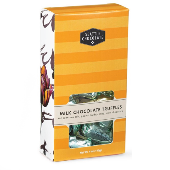 Milk Chocolate Truffle Box. 3 flavors. Gluten-Free. Non-GMO. Kosher Dairy. Brand: Seattle Chocolate, USA.