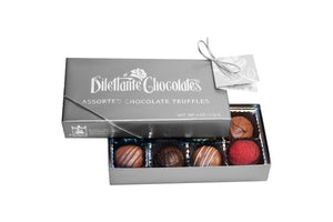 Deluxe Chocolate Truffle Gift Box - 8 Piece. Assortment of dark, milk, and white chocolate. All natural. Brand: Dilettante, USA.