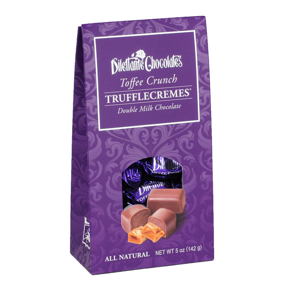 TruffleCremes Toffee Crunch Tent Gift Box. Milk chocolate. All natural. Brand: Dilettante, USA.