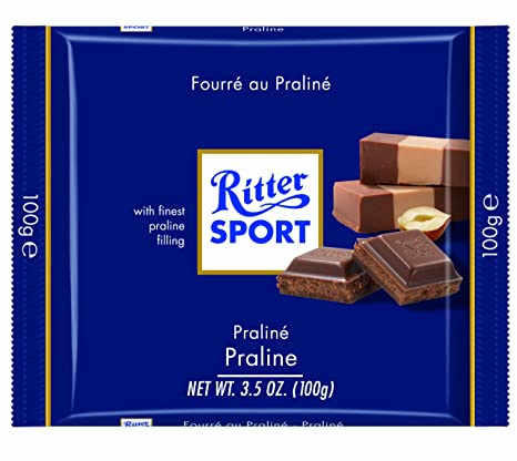 Milk Chocolate With Praline Bar. Creamy premium praline filling. Hazelnuts, roasted and finely ground, give it an intense, nutty taste. Brand: Ritter, Germany.