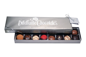 Deluxe Chocolate Truffle Gift Box - 16 Piece. Assortment of dark, milk, and white chocolate. All natural. Brand: Dilettante, USA.