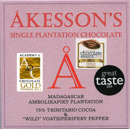 Madagascar Trinitario & Wild Pepper Bar Organic Dark Chocolate 75%. Brand: Akesson's, France.