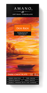 Dos Rios Bar. Artisan dark chocolate 70%. Fair Trade. Brand: Amano, USA.