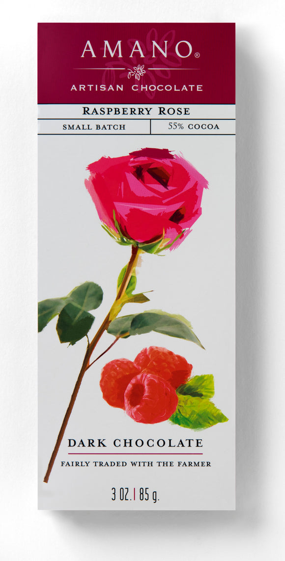 Raspberry Rose Bar. Artisan dark chocolate 55%. Fair Trade. Brand: Amano, USA.