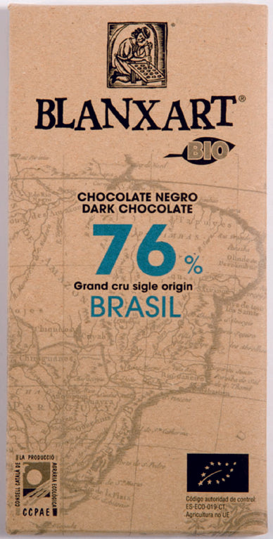Brasil Eco-Organic Bar. Dark chocolate 76%. Brand: Blanxart, Spain.