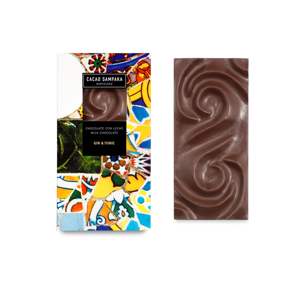 Gin & Tonic Bar. Milk chocolate 47%. Gin & Tonic flavor. Brand: Cacao Sampaka, Spain.