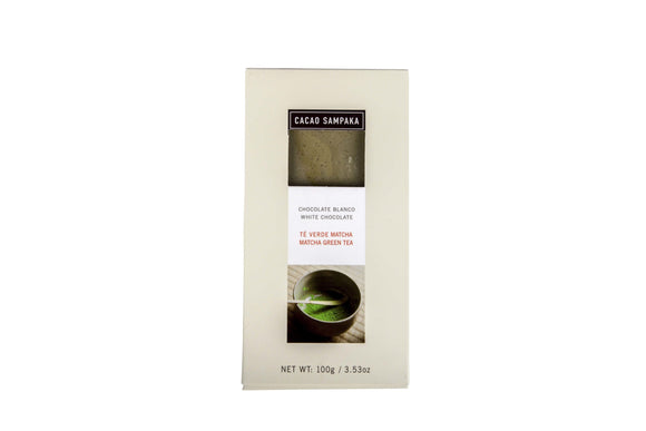 Matcha White Bar. White chocolate 33%. Natural vanilla flavor. Brand: Cacao Sampaka, Spain.